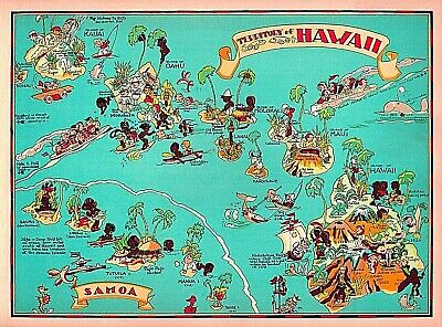 1940S TERRITORY OF Hawaii Map United States Vintage Travel ...