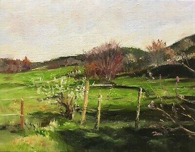 "Original Oil Painting, Landscape, MORNING ON PASTURE 7x9"" Schelp"