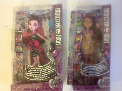 2 NEW Monster High Dolls Draculaura and Clawdeen Wolf Both Individually Boxed.