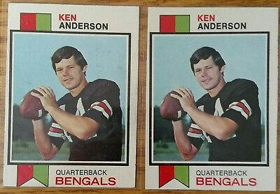2x Ken Anderson 1973 Topps RC Rookie Cards #34  EX/MT condition lot of 2