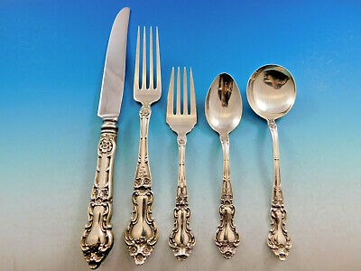 Meadow Rose by Wallace Watson Sterling Silver Flatware Set Service 30 pcs Dinner