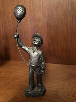 """1983 Pewter """"Boy With Balloon"""" Statue - Michael Ricker Collectible"""