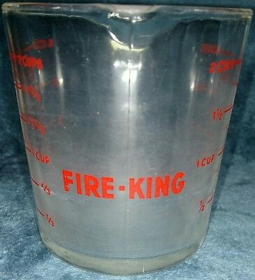 Vintage Fire King Glass #498 Measuring 2 Cup Red Lettering