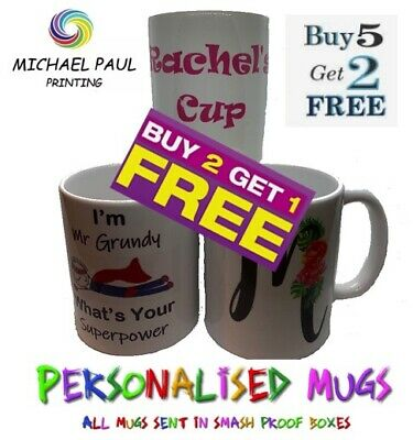 Personalised Cup Text Image Logo Teachers Gift Christmas Birthday Fathers Day