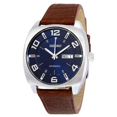Seiko Recraft Automatic Blue Dial Brown Leather Men's Watch SNKN37