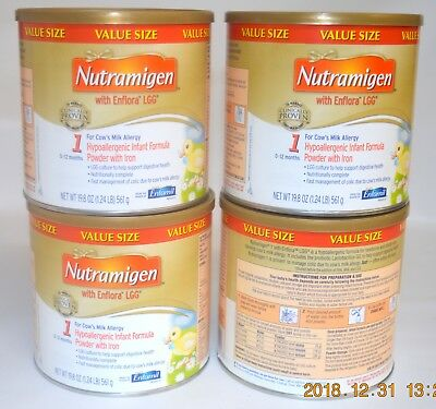 4 X  Enfamil Nutramigen with Enflora LGG  Powder 19.8 Oz Apr/2020
