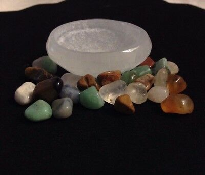 Small White Selenite Offering Bowl with Multi Gemstones WICCA PAGAN ALTAR