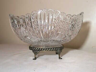 antique ornate pressed clear glass bronze footed centerpiece fruit bowl dish
