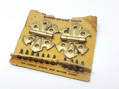 "Set of 2 Vintage Brass Stanley Hardware Cabinet Door Hinges Butterfly 2"" x 2.5"""