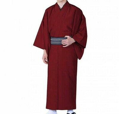 Japanese Traditional Mens Unlined Summer Kimono Pongee Fabric Red Japan Tracking