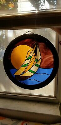 """Vintage Stained Glass Panel Sailboat Sun Catcher Round 17"""""""