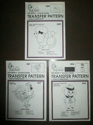 Pretty Punch Embroidery Iron-on Patterns Rooster Pig & Poodle
