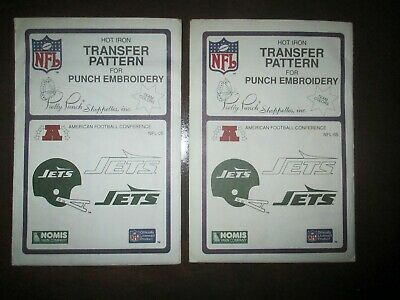 1987 Pretty Punch Iron-on Punch Embroidery Pattern NFL New York Jets 2pcs