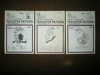 Pretty Punch Embroidery Iron-on Transfer OWL Patterns Lot of 3