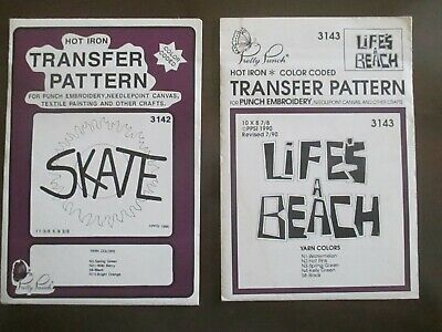 Pretty Punch Embroidery Iron-on Transfer SKATE-LIFES A BEACH Patterns Lot of 2