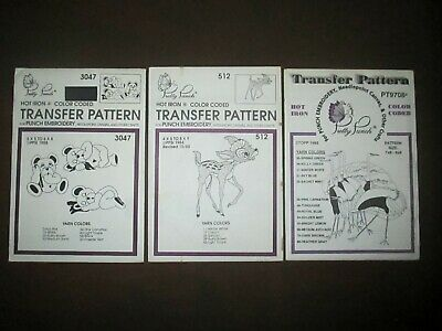 Pretty Punch Embroidery Iron-on Patterns Fawn, Ostrich & Teddy Bears