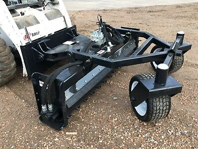 """Jenkins Iron 72"""" Hyd Angle Soil Conditioner Power Rake Skid Steer Attachment"""
