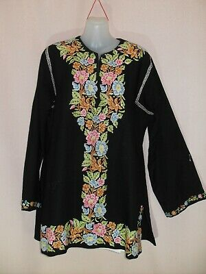 1970's Vintage Hippy Longer Length Long Sleeved Top with Hand Embroidery.