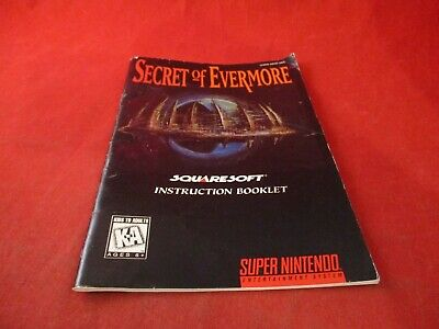 The Secret of Evermore Super Nintendo SNES Instruction Manual Booklet ONLY