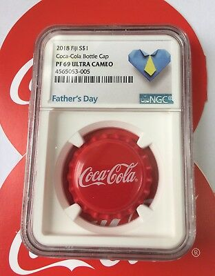 NGC PF69 2018 Fiji Coca-Cola Bottle Cap $1 6g Silver Proof Coin Coca Cola