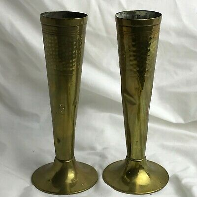 Antique Vintage Pair Of Posy Vases Vase Brass Arts And Crafts
