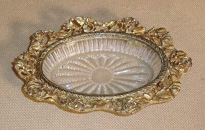 Vintage Vanity Glass Soap Dish MATSON Signed Ornate Ormolu Decorated 390II