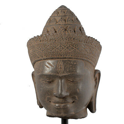 """Antique Angkor Wat Style Khmer Stone Shiva Head Statue - The Destroyer -30cm/12"""""""