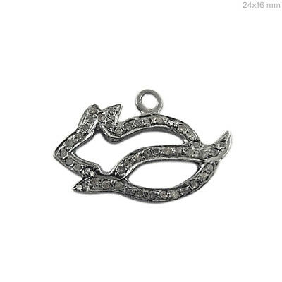 Pave Diamond Rat Charm Pendant Fine Solid .925 Sterling Silver Jewelry 24x16 mm