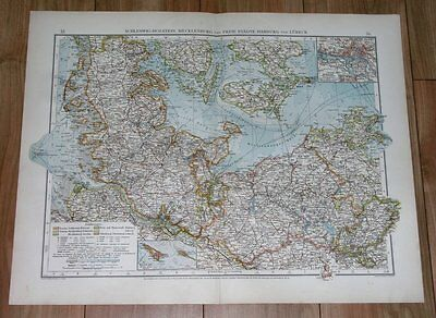 1907 Antique Map Of Schleswig-Holstein Mecklenburg Hamburg Germany Denmark