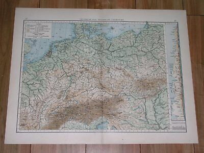 1896 Antique Original Physical Map Of Germany Poland Rivers Mountains