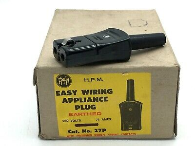 HPM 27/P Domestic Appliance Plug 2 Pin 250V 7.5A Black same as Clipsal 464 x2