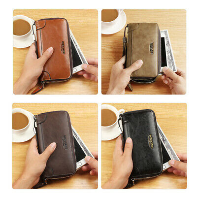 Unisex Men PU Leather Billfold Wallet Credit Card Holder Cell Phone Zipper Purse