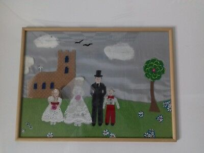 ORIGINAL framed wedding folk Art  PAINTING