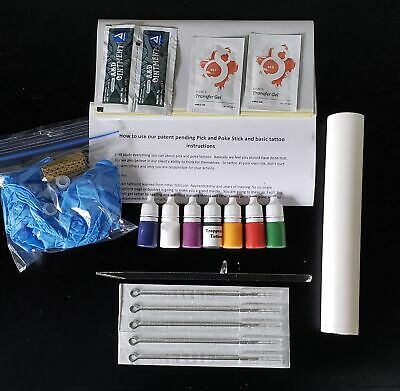 Hand poke colored tattoo set.  Tattoo Stick. 5 Tattoo colored inks and 5 needles