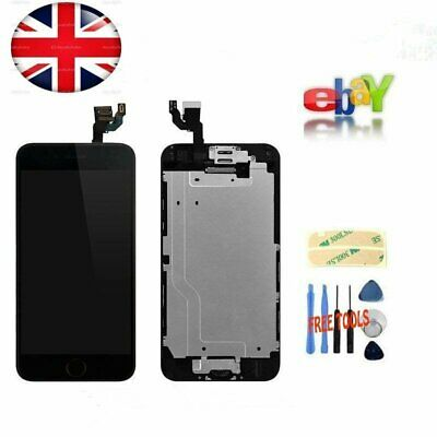 """iPhone 6 Full 4.7"""" Replacement Home Button+Camera For LCD Screen Digitizer Black"""