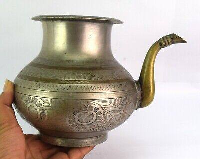 Antique Indian Spout Holy Water Pot Kitchenware  Nicely Engraved Pot G56-142 AU