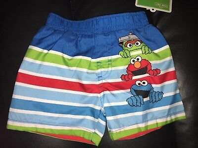 073a24b20c NWT Baby Boy's Swim Trunks Lined Swimsuit Size 12 Months Sesame Street