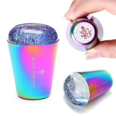 Rainbow Handle Nail Stamper Shining Holographic Head Clear Silicone Stamper