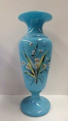 Antique Victorian Blue Glass Vase Hand Painted Enamel Flowers