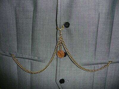 unusual vintage type brass double  albert pocket watch chain farthing  fob