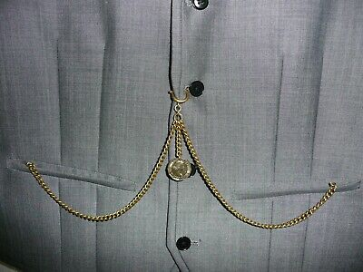 unusual vintage type brass three pence double albert pocket watch chain 3d fob