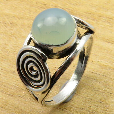 Hot Selling Aqua Chalcedony 925 Silver Plated TIBETAN Ring Size 10.25 BIJOUX NEW