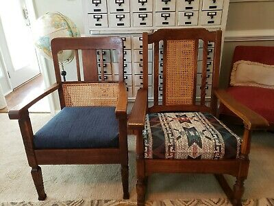 Antique Mission Craftsman Tiger Oak Rocker Rocking & Chair Quarter Sawn