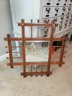 Vintage Antique Wood Oak Mission Craftsman Arts & Crafts Ball n Stick Mirror