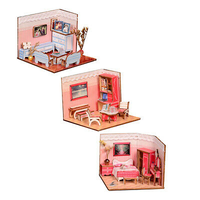 Wood Dollhouse Miniature Kit DIY Doll House Room with Furniture Accessories