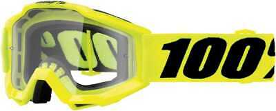 100Percent Accuri Junior Youth Goggles, Fluorescent Yellow With Clear Lens