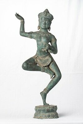 Antique Khmer Style Bronze Angkor Wat Apsara or Angel Statue - 54cm/22""