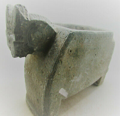 Circa 200Bc-200Ad Ancient Bactrian Chlorite Stone Vessel In The Form Of A Beast