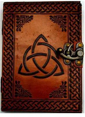 Triquetra Celtic Knots 7x5 Leather Journal Blank Book of Shadows w/Latch