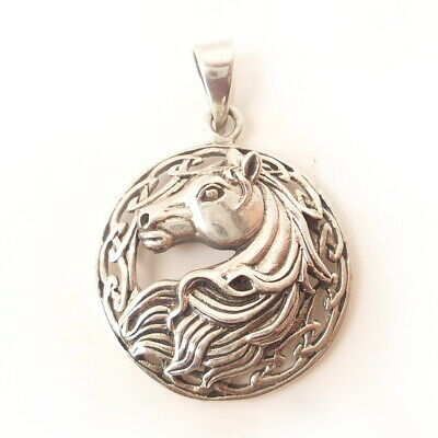 Horse .925 Solid Sterling Silver Pendant 3D Charm Celtic Infinity Knot Grad Gift